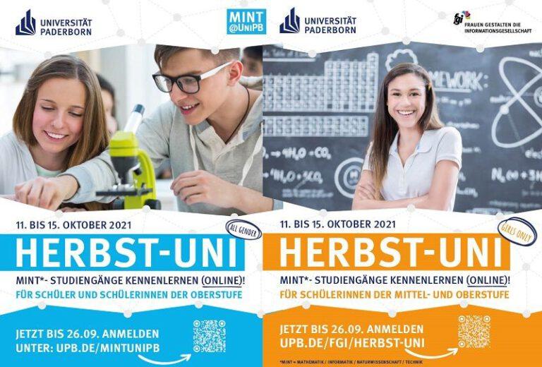 """Universität Paderborn veranstaltet digitale """"Herbst-Uni"""" für MINT-Fächer"""